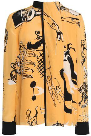 VICTORIA, VICTORIA BECKHAM Draped printed silk-crepe shirt