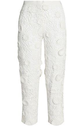 VICTORIA, VICTORIA BECKHAM Appliquéd cotton guipure lace pants