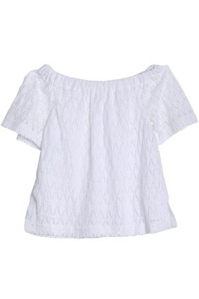 A.L.C. Off-the-shoulder crochet-knit cotton top