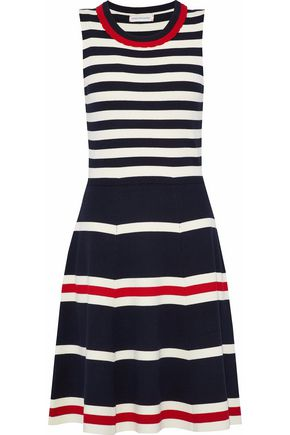CHINTI AND PARKER Flared striped ribbed-knit dress