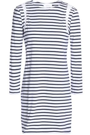 A.L.C. Lattice-trimmed striped cotton-jersey mini dress
