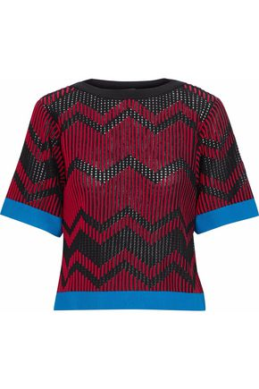M MISSONI Paneled ribbed and open-knit top
