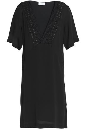 A.L.C. Embroidered lace-up trim silk-cady mini dress