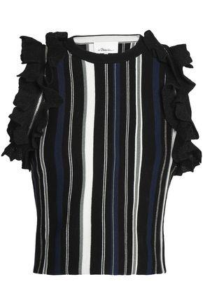 3.1 PHILLIP LIM Ruffled striped stretch-knit top