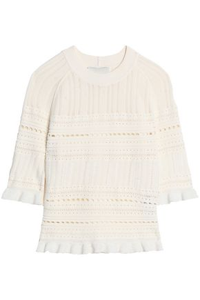 3.1 PHILLIP LIM Pointelle-trimmed ribbed-knit top