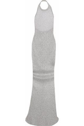 BALMAIN Metallic open-knit halterneck gown