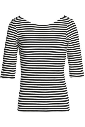 THEORY Striped stretch-jersey top
