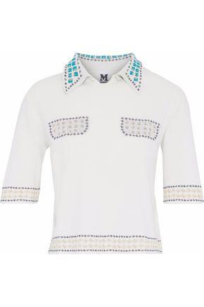 M MISSONI Metallic crochet-trimmed frayed piqué top