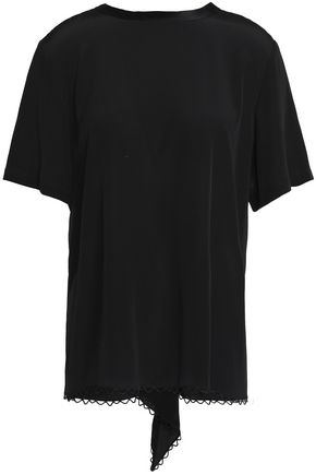 ALEXANDER WANG Gathered cutout silk-crepe top