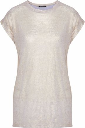 BALMAIN Metallic slub linen-jersey T-shirt