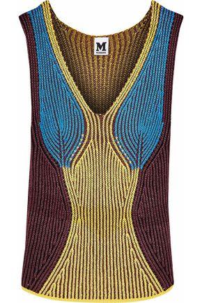 M MISSONI Metallic color-block crochet-knit tank