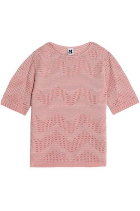 M MISSONI Metallic broderie anglais and crochet knit-paneled top