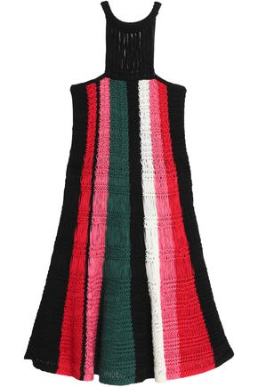 M MISSONI Cutout striped macramé cotton dress