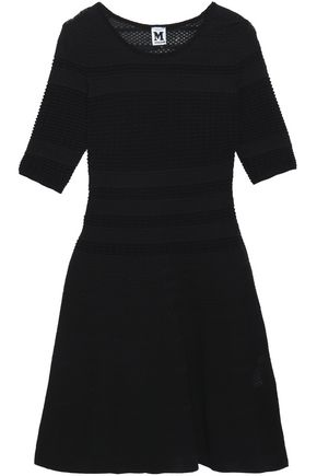 M MISSONI Paneled crochet-knit cotton-blond dress