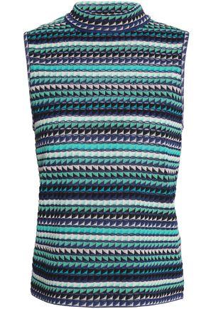 M MISSONI Printed crochet-knit cotton-blend top