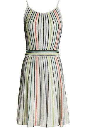 M MISSONI Metallic striped ribbed-knit dress