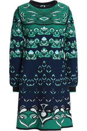 M MISSONI Fluted jacquard-knit mini dress