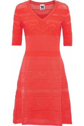 M MISSONI Ribbed pointelle and crochet-knit dress