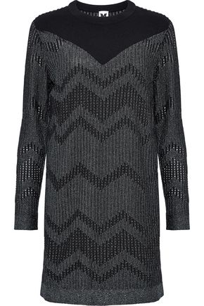 M MISSONI Ponte-paneled metallic crochet-knit mini dress