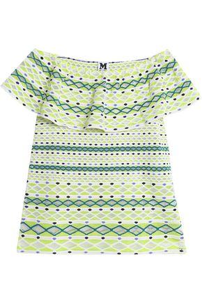 M MISSONI Off-the-shoulder ruffled jacquard-knit top