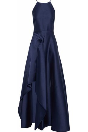BADGLEY MISCHKA Asymmetric draped satin gown