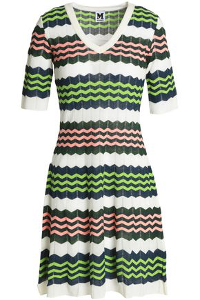 M MISSONI Color-block crochet-knit mini dress