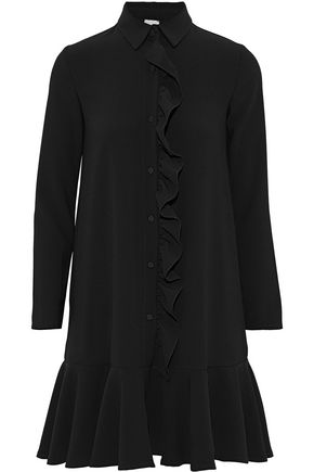 IRIS & INK Cameron ruffled cady mini shirt dress