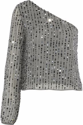 W118 by WALTER BAKER Sequinned one-shoulder gauze top