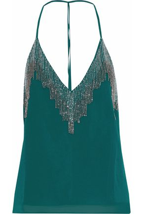 W118 by WALTER BAKER Open-back bead-embellished chiffon top
