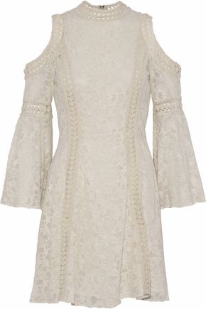 ALICE + OLIVIA Cold-shoulder crochet-trimmed embroidered chiffon mini dress