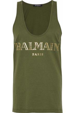 BALMAIN Printed cotton-jersey tank