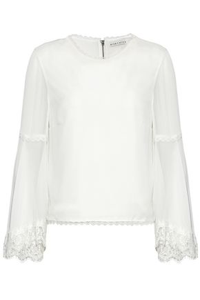 ALICE + OLIVIA Lace-trimmed gauze-paneled silk-chiffon blouse