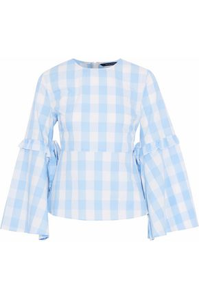 W118 by WALTER BAKER Ruffle-trimmed gingham cotton peplum top