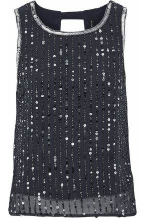 W118 by WALTER BAKER Open-back bead and sequin-embellished georgette top