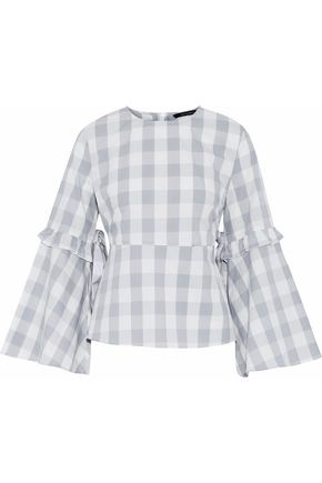 W118 by WALTER BAKER Bow-detailed ruffle-trimmed gingham cotton top