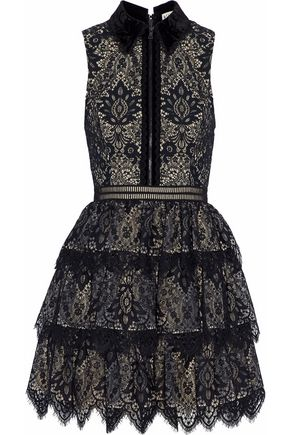 ALICE+OLIVIA Velvet-trimmed tiered lace mini dress