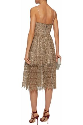 7361b103c3 Sequined metallic macramé lace dress | ALICE + OLIVIA | Sale up to ...