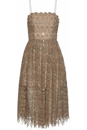 ALICE + OLIVIA Sequined metallic macramé lace dress