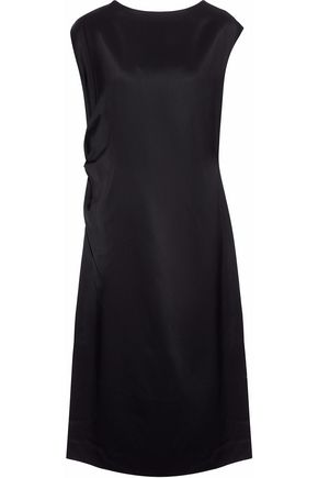 JIL SANDER Ruched duchesse-satin twill dress