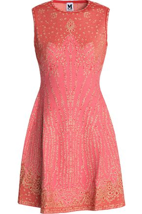 M MISSONI Paneled cloqué stretch-knit mini dress