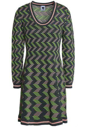 M MISSONI Striped ribbed-knit mini dress