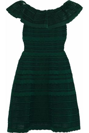 M MISSONI Ruffled crochet-knit cotton-blend dress