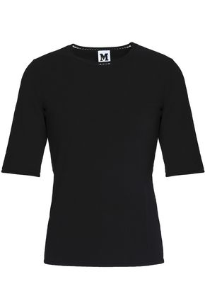 M MISSONI Embroidered-trimmed stretch-knit T-shirt