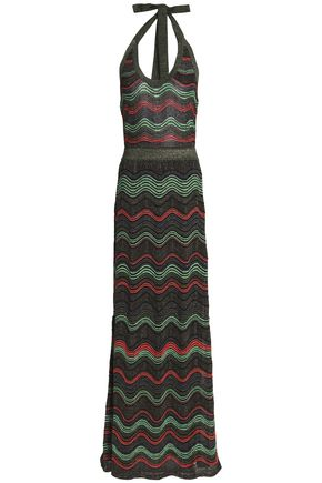 M MISSONI Metallic printed crochet-knit maxi dress