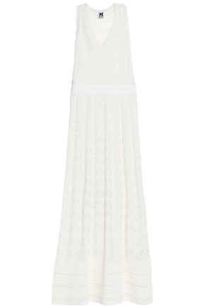 M MISSONI Open-back crochet-knit cotton-blend maxi dress
