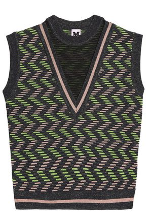 M MISSONI Metallic printed crochet-knit top