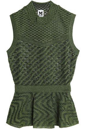 M MISSONI Metallic paneled crochet-knit top