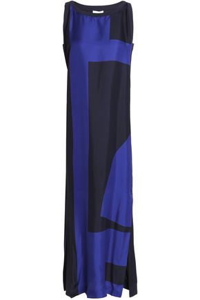 DKNY Two-tone silk-satin maxi dress