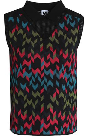 M MISSONI Lattice-trimmed printed jacquard-knit top