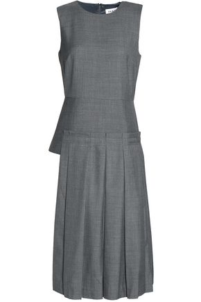 DKNY Pleated wool-blend dress